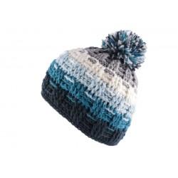 Bonnet à pompon Snow Gris Bleu Blanc
