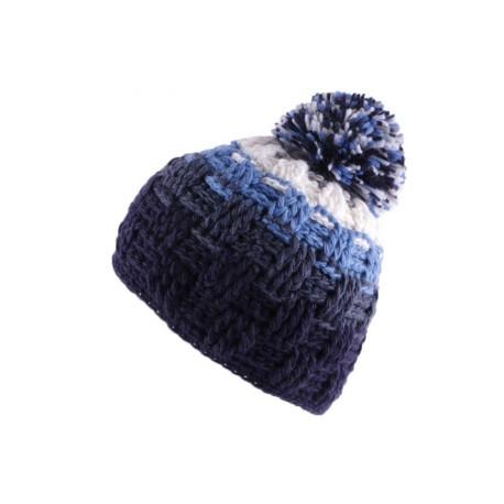 Bonnet à pompon Snow Bleu Blanc