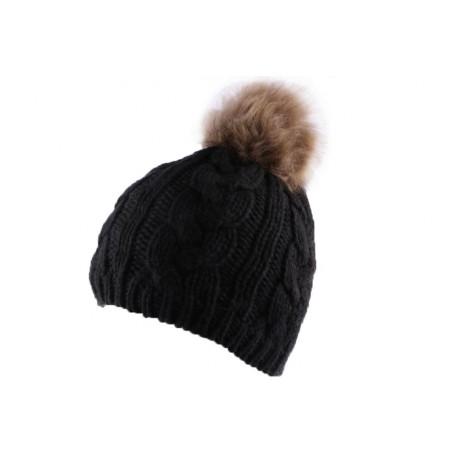 Bonnet Nyls Création Noir avec pompon