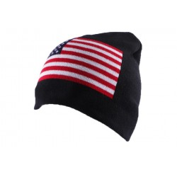 Bonnet Biker Noir Drapeau USA