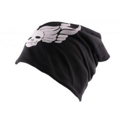 Bonnet Biker Oversize Noir Tête de mort BONNETS Nyls Création