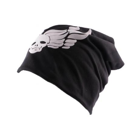 Bonnet Biker Oversize Noir Tête de mort