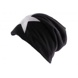 Bonnet Biker oversize Noir avec étoile BONNETS Nyls Création