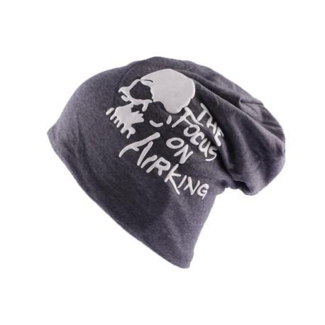 Bonnet Biker Oversize Gris avec tête de mort et texte