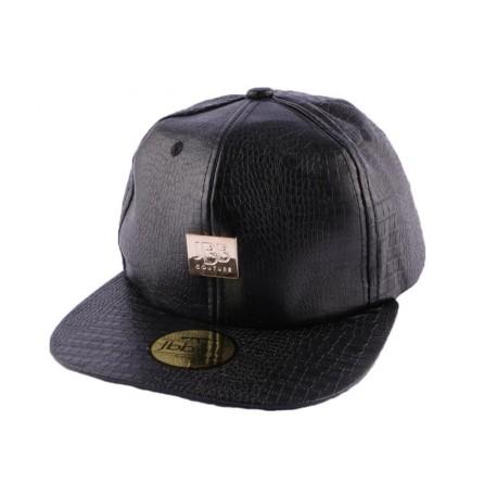 Snapback JBB Couture Noir et Croco