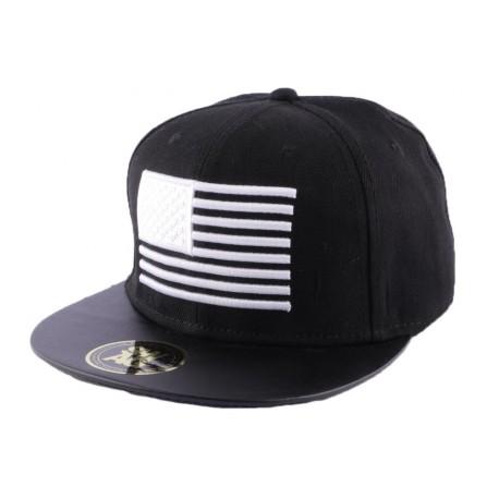 Snapback Noire avec drapeau US Blanc CASQUETTES Hip Hop Honour