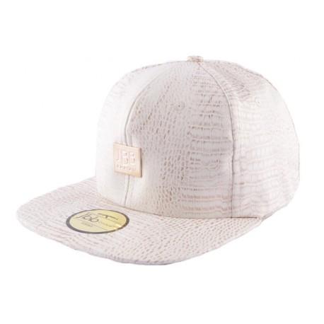 Snapback JBB Couture blanche façon Croco