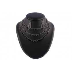 Collier 3 rangs strass noir Amby