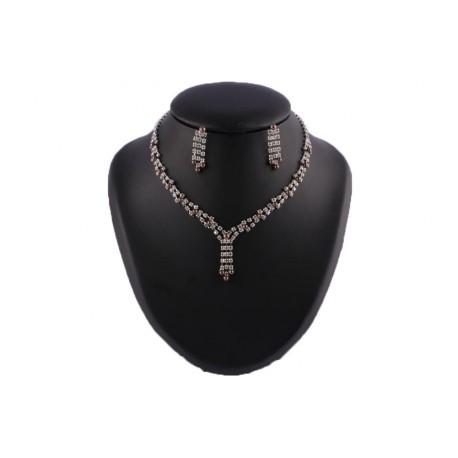 Collier Nessy Perles Chocolat et strass