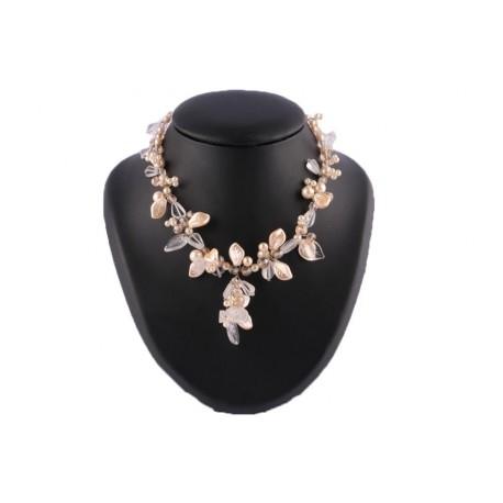 Collier Zyna en perles Capuccino et Cristal