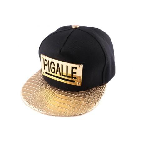 Snapback Pigalle Noire avec visière dorée