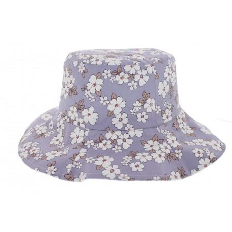 Chapeau de toile résersible fleuri