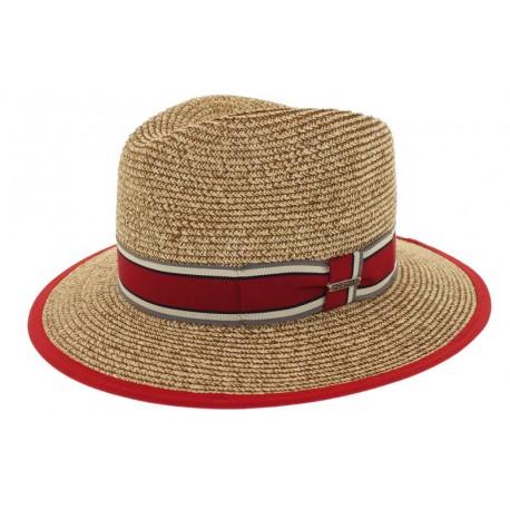 Chapeau de paille Edwardo naturel/rouge