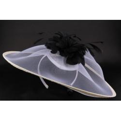 Coiffe mariage Alty Crin blanchi fleur noire