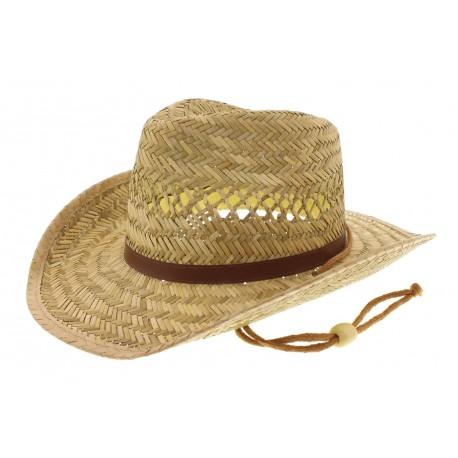 Chapeau Cowboy en paille naturelle
