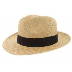 Chapeau paille Herman Headwear naturel et noir