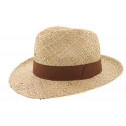 Chapeau paille Herman Headwear naturel et marron