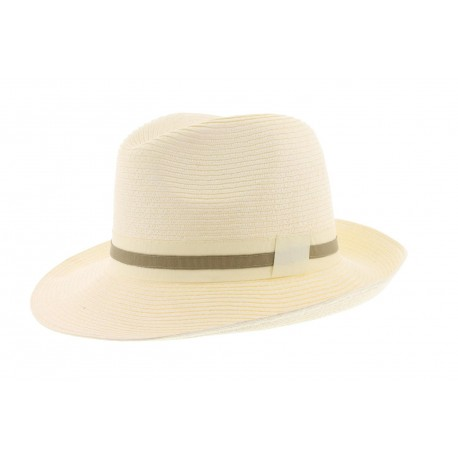 Chapeau paille mottled Herman Headwear Ecru