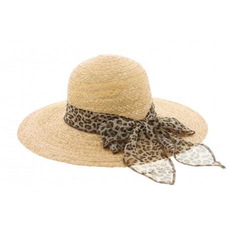 Chapeau paille été naturel avec foulard Léopard