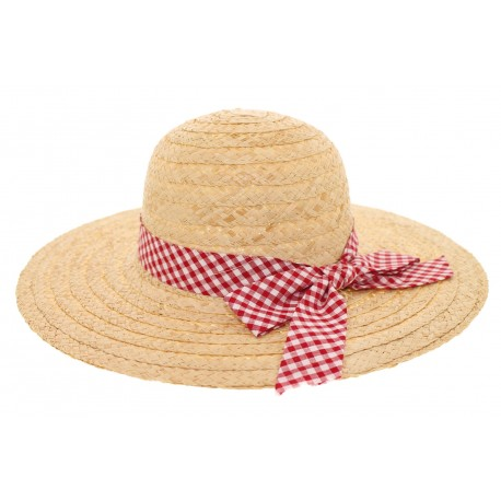 Chapeau paille été naturel avec carreaux vichy