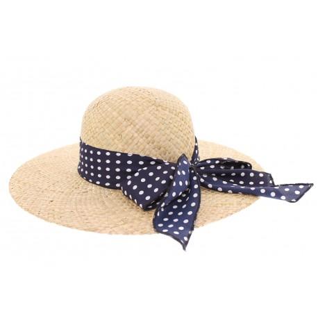 Chapeau paille Herman Headwear Naturel Vichy bleu
