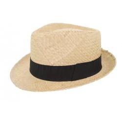 Chapeau de paille Grant naturel noir