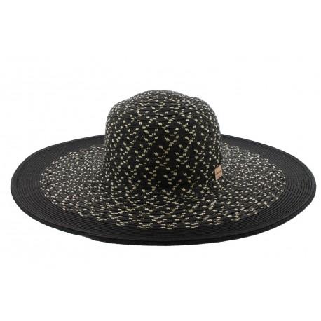 Chapeau Enata en paille chinée noir et beige Herman Headwear