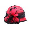 Chapeau cérémonie Delfy en sisal Rouge et Noir
