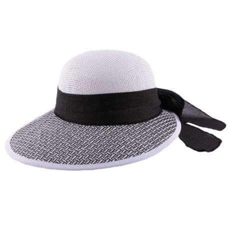 Chapeau en paille Amiata en Raphia Noir et Blanc