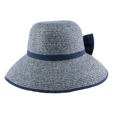 Chapeau paille Ischia en Chiné Bleu bleu ciel et Foncé