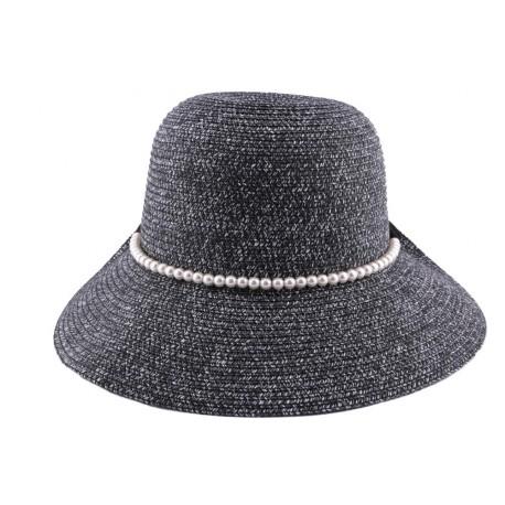 Chapeau Paille Lipari en mottled chiné Noir et Blanc