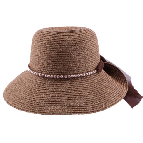 Chapeau paille Lipari en mottled chinée Marron et naturel