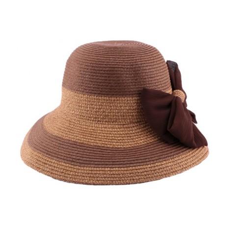 Chapeau paille Vésuve en mottled naturel et marron