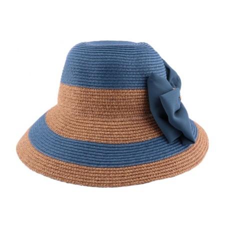 Chapeau paille Vésuve en mottled bleu et naturel