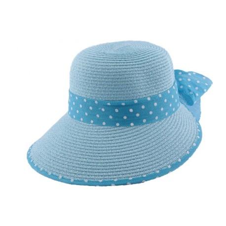 Chapeau paille Vulcano en mottled bleu