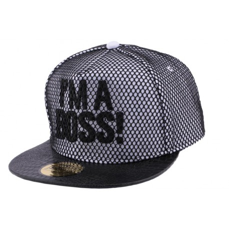 Snapback JBB Couture i'm a Boss blanche filet noir