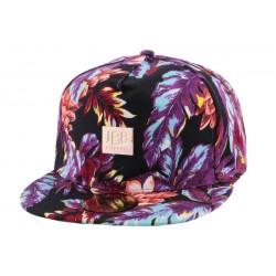 Snapback JBB Couture Florale Noir et Violet