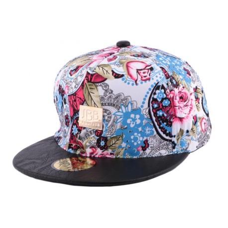 Snapback JBB Couture Florale Rouge et Bleu