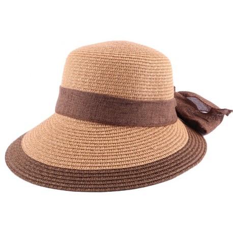 Chapeau paille Vulcano en mottled naturel et marron