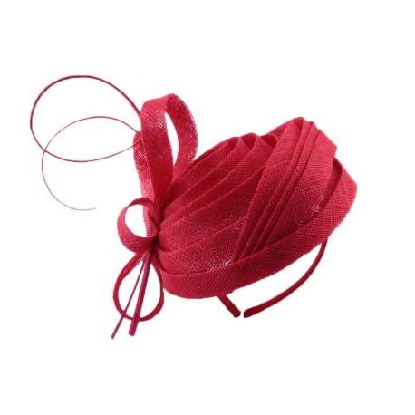 Chapeau Cérémonie Calliope en sisal Rouge