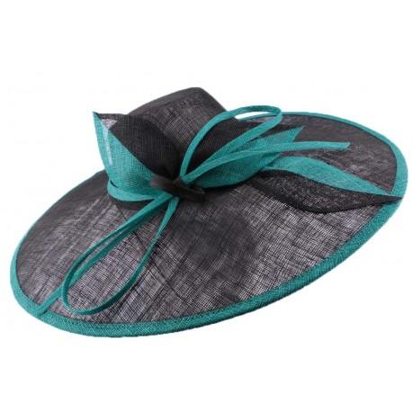 Chapeau cérémonie Danaé en sisal noir et turquoise