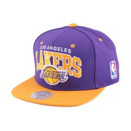 Snapback Los Angeles Lakers Mitchell & Ness violet et jaune