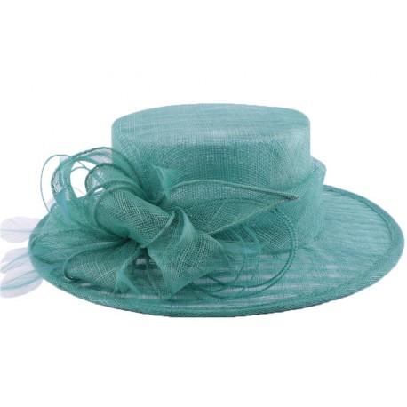 Chapeau Cérémonie Fève en sisal Turquoise
