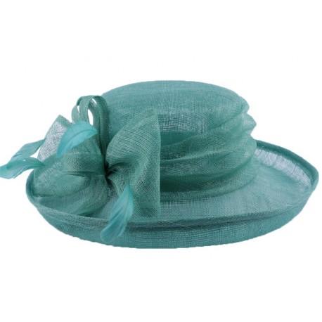 Chapeau Cérémonie Albizia en sisal Turquoise