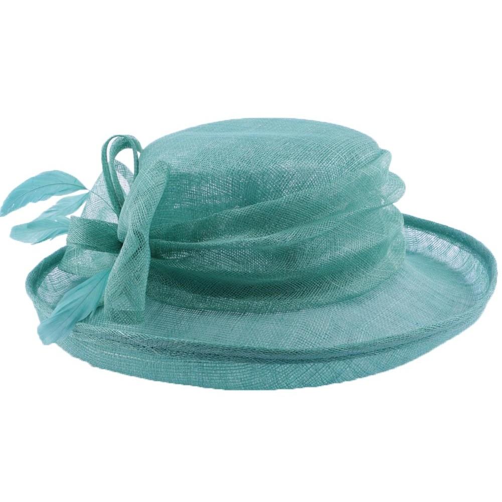 Chapeau mariage albizia turquoise chapellerie hatshowroom for Taille d un albizia