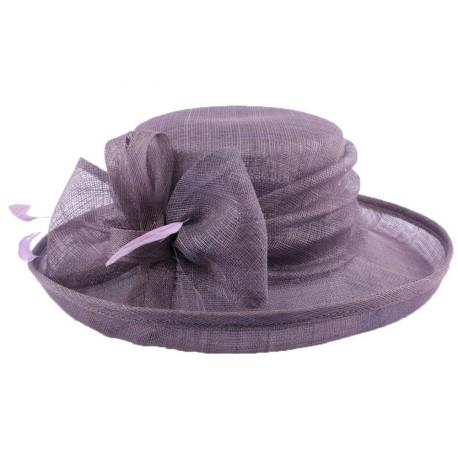 Chapeau Cérémonie Albizia en sisal Violet Foncé