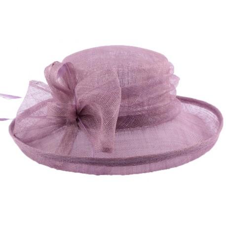 Chapeau Cérémonie Albizia en sisal Violet Clair