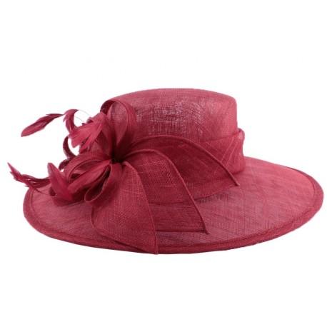 Chapeau Cérémonie Marie en sisal Rouge