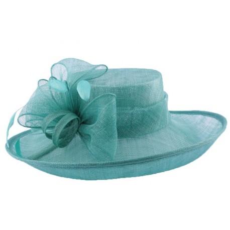 Chapeau Cérémonie Airelle en sisal Turquoise