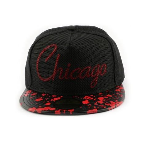 Snapback Hip Hop Chicago noire et rouge